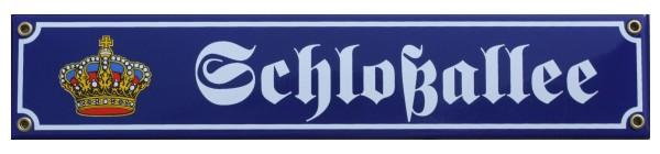 Schloßallee mit Krone 8 x 40 cm Emaille Schild Nr. 1306