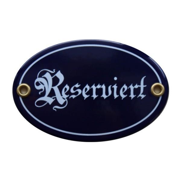 Reserviert oval 7 x 10,5 cm Emaille Schild ( ohne Holzrahmen) Nr. 1684