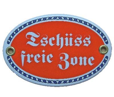 Türschild Tschüss freie Zone mit Kordelrahmen Emaille Schild oval 7 x 10,5 cm Email rot Nr. 1083