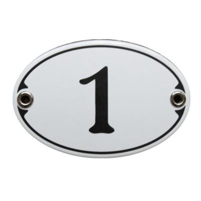 Nummer 1 Emailschild Jugendstil 7 x 10,5 cm oval weiß (ohne Holzrahmen) Nr. 1071