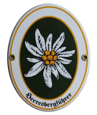 Heeresbergführer Emaille Schild Oval (ohne Holzrahmen) Nr. 1653