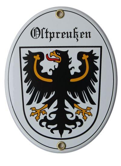 Ostpreußen mit Adler Emaille 11,5 x 15 cm Schild oval Emailschild weiß Nr. 1336