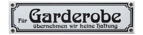 Für Garderobe übernehmen wir keine Haftung Jugendstil 8 x 30 cm Emaille Schild weiß Nr. 1262