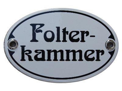 Türschild Folterkammer 7 x 10,5 cm oval Emaille Schild Jugendstil (ohne Holzrahmen) Nr. 1252