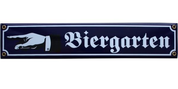 Biergarten mit Hand nach links Emaille Schild Nr. 1651