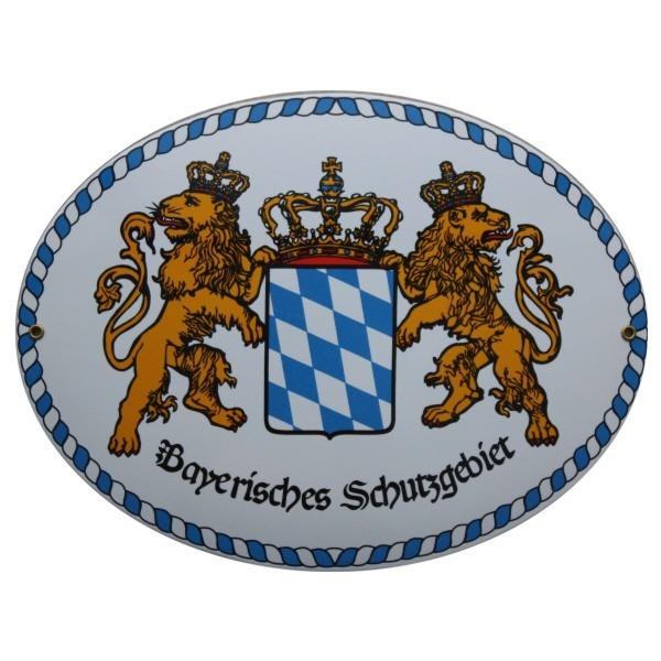 Bayerisches Schutzgebiet Emailschild 28,5 x 37,5 cm Emaille Schild oval Groß Nr. 1652