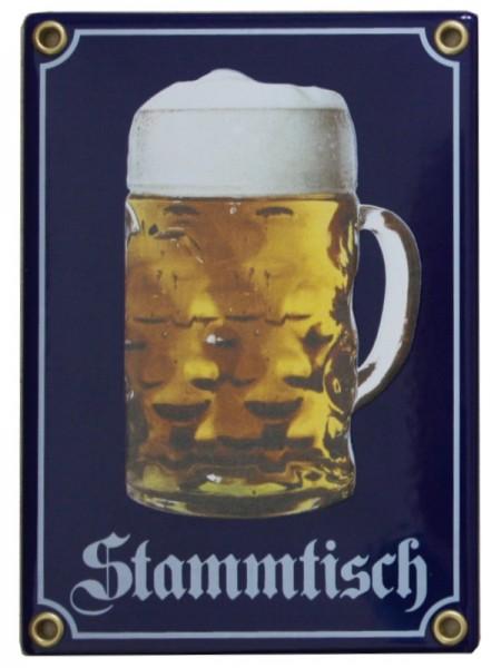 Stammtisch mit Bierkrug Emaille Schild 12 x 17 cm Emailschild blau. Nr.1350