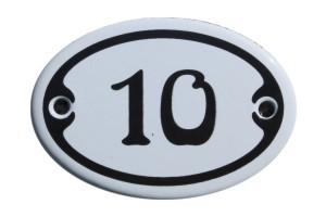 Nummer 10 mini Emailschild Jugendstil 4,2 x 6,2 cm oval weiß Nr. 4210