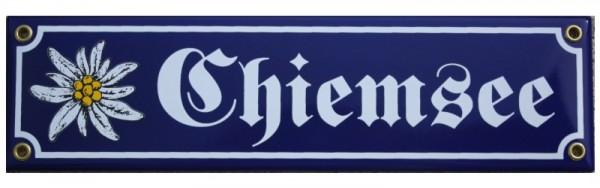 Chiemsee mit Edelweiß Emaille 8 x 30 cm Straßenschild Nr. 1220
