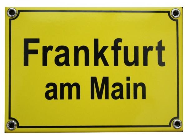 Frankfurt am Main Emaille Ort Schild 12 x 17 cm Emailschild gelb Nr. 1419