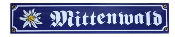 Mittenwald mit Edelweiß Emaille 8 x 40 cm Straßenschild Nr. 1289
