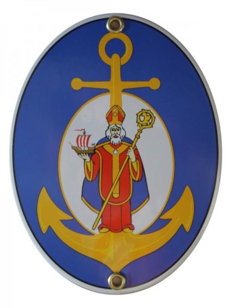 Heiliger Nikolaus Emaille Schild Oval blau Nr. 3330