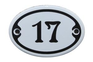 Nummer 17 mini Emailschild Jugendstil 4,2 x 6,2 cm oval weiß Nr. 4217