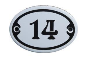 Nummer 14 mini Emailschild Jugendstil 4,2 x 6,2 cm oval weiß Nr. 4214