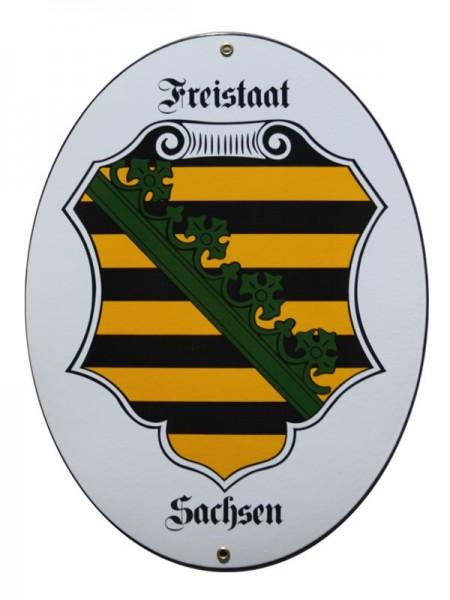 Freistaat Sachsen 28,5 x 37,5 cm Emaille Schild Nr. 1354
