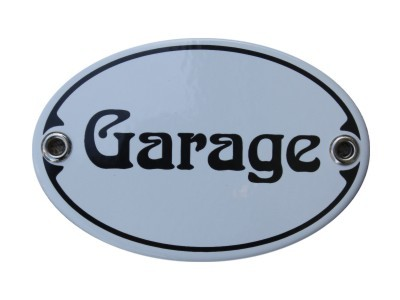 Türschild Garage 7 x 10,5 cm oval Emaille Schild Jugendstil (ohne Holzrahmen) Nr. 1258