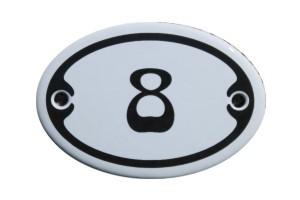 Nummer 8 mini Emailschild Jugendstil 4,2 x 6,2 cm oval weiß Nr. 4208