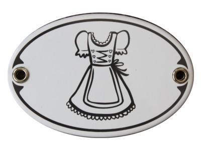 Türschild Toilette Dirndl Damen WC Garderobe Emaille Schild Jugendstil 7 x 10,5 cm oval Emaille Schi