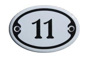 Nummer 11 mini Emailschild Jugendstil 4,2 x 6,2 cm oval weiß Nr. 4211