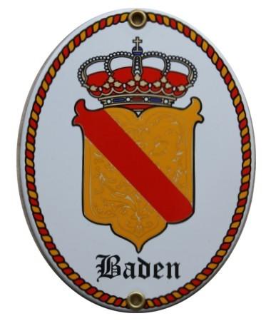 Badisches Wappen Emailschild 15 x 11,5 cm oval Emaille Schild (ohne Holzrahmen) Nr. 1655