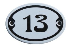 Nummer 13 mini Emailschild Jugendstil 4,2 x 6,2 cm oval weiß Nr. 4213