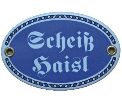 Türschild Scheiß Haisl mit Kordelrahmen Emaille Schild oval 7 x 10,5 cm Email blau Nr. 1090