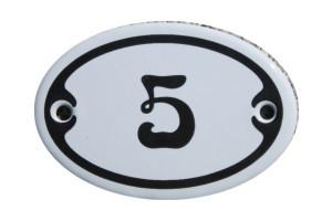 Nummer 5 mini Emailschild Jugendstil 4,2 x 6,2 cm oval weiß Nr. 4205