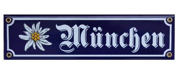 München mit Edelweiß Emaille 8 x 30 cm Schild Nr. 1017
