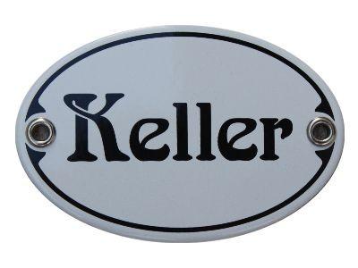 Türschild Keller 7 x 10,5 cm oval Emaille Schild Jugendstil (ohne Holzrahmen) Nr. 1037