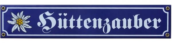 Hüttenzauber mit Edelweiß Emaille Schild 8 x 40 cm Emailschild blau Nr. 1430