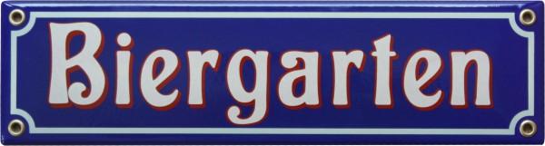 Biergarten Emaille 8 x 30 cm Schild Nr. 1205