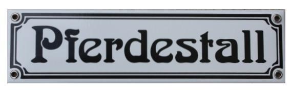 Pferdestall Jugendstil 8 x 30 cm Emaille Schild Nr. 1022