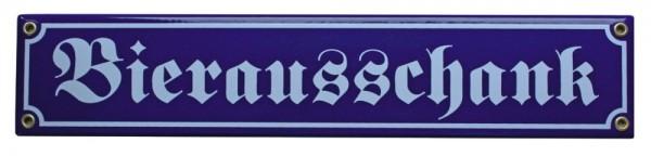 Bierausschank Emaille Schild 8 x 40 cm Emailschild blau Nr. 1287