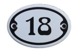Nummer 18 mini Emailschild Jugendstil 4,2 x 6,2 cm oval weiß Nr. 4218