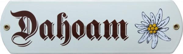 Dahoam mit Edelweiß Emaille 8 x 27 cm Schild beige Nr. 1064