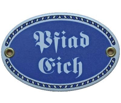 Türschild Pfiad Eich mit Kordelrahmen Emaille Schild 7 x 10,5 cm Email blau Nr. 1084