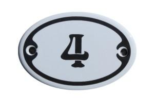 Nummer 4 mini Emailschild Jugendstil 4,2 x 6,2 cm oval weiß Nr. 4204