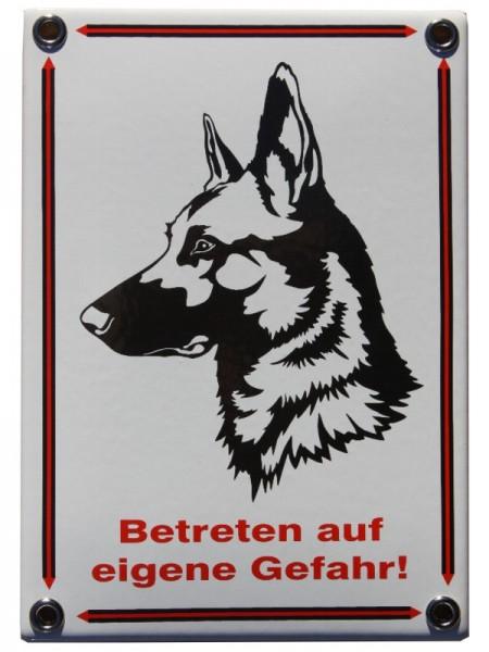 """Schäferhund Emailschild """"Betreten auf eigene Gefahr"""" Emaille Schild Nr. 1066"""