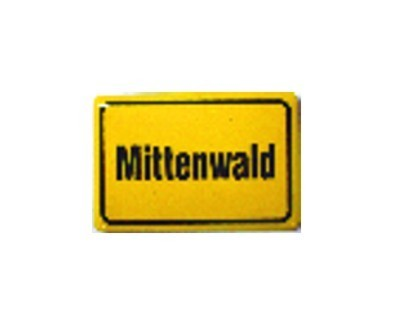"""Mittenwald"" Magnet, Emaille gelb Nr. 2626"