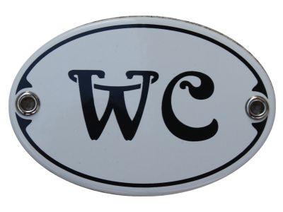 Türschild WC 7 x 10,5 cm oval Emaille Schild Jugendstil (ohne Holzrahmen) Nr. 1135