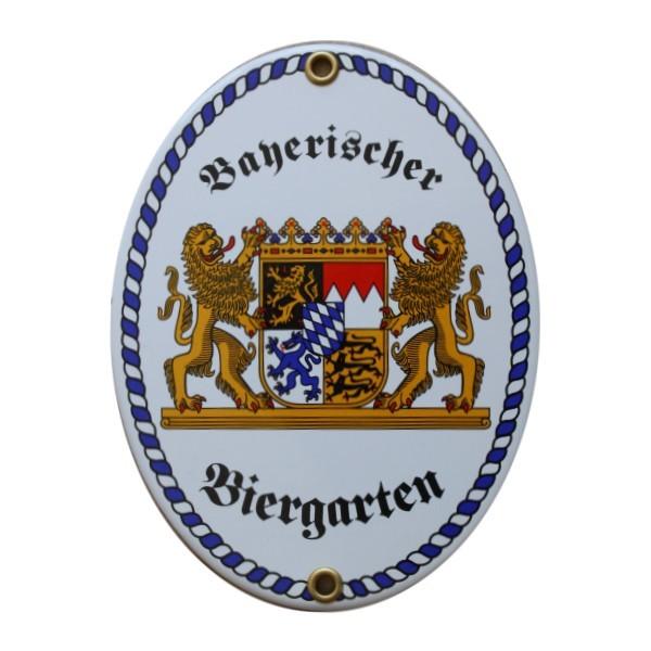 Bayerischer Biergarten Emaille Schild Nr. 1715