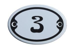 Nummer 3 mini Emailschild Jugendstil 4,2 x 6,2 cm oval weiß Nr. 4203