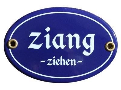 Türschild oval 7 x 10,5 cm Ziang ziehen Emaille Schild (ohne Holzrahmen) Nr. 3402