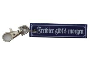 Schlüsselanhänger Freibier gibts morgen ca. 2 x 8 cm Emaille Nr. 1297