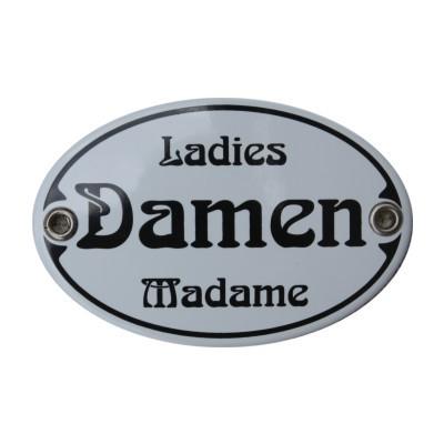 Türschild Damen Ladies Madame WC Jugendstil 7 x 10,5 cm oval Emaille Schild (ohne Holzrahmen) Nr. 12