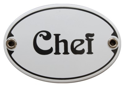 Türschild Chef 7 x 10,5 cm oval Emaille Schild Jugendstil (ohne Holzrahmen) Nr. 1453
