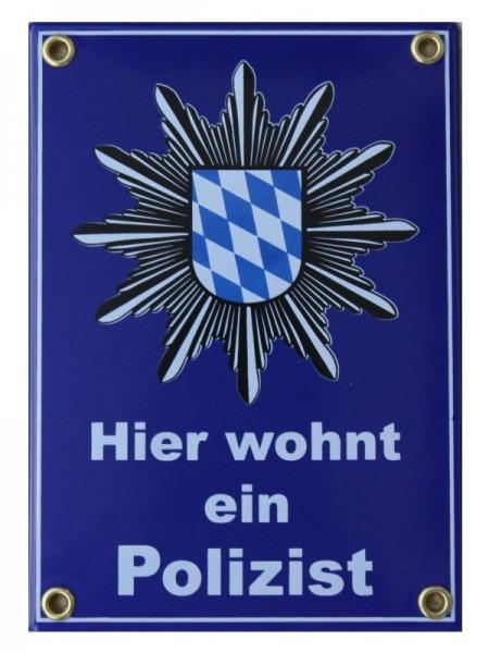 Hier wohnt ein Polizist Emaille Schild 12 x 17 cm Emailschild blau Nr. 365