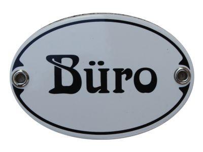 Türschild Büro 7 x 10,5 cm oval Emaille Schild Jugendstil (ohne Holzrahmen) Nr. 1032