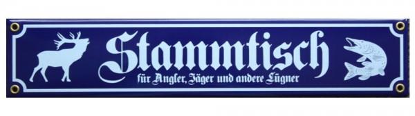 Stammtisch für Angler, Jäger und andere Lügner Emaille Schild 8 x 40 cm Emailschild blau Nr. 3399
