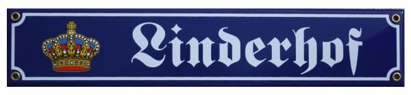 Linderhof mit Krone 8 x 40 cm Emaille Schild Nr. 1312